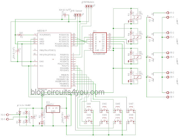GSM Based home automation circuit diagram