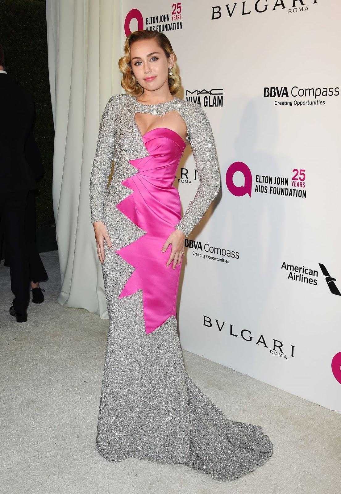 Red Carpet Dresses: Miley Cyrus - Elton John AIDS Foundation\'s Oscar ...
