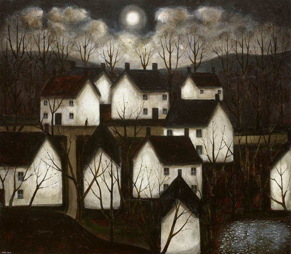 "Obras de arte, pinturas: ""Shady Woods and White Cottages"" by John Caple, 2017"
