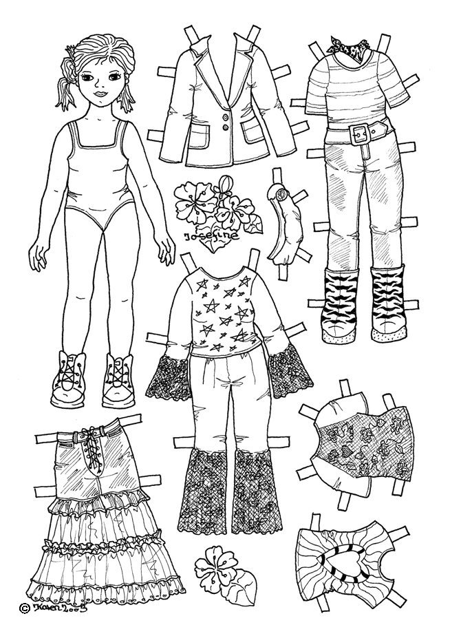 Karen`s Paper Dolls: Josefine 1-4 Paper Doll to Colour