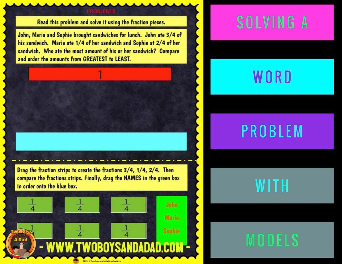 comparing fractions using Google Slides constructing virtual modesl