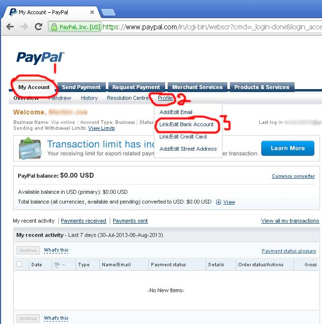 create and get verified paypal account within 7days
