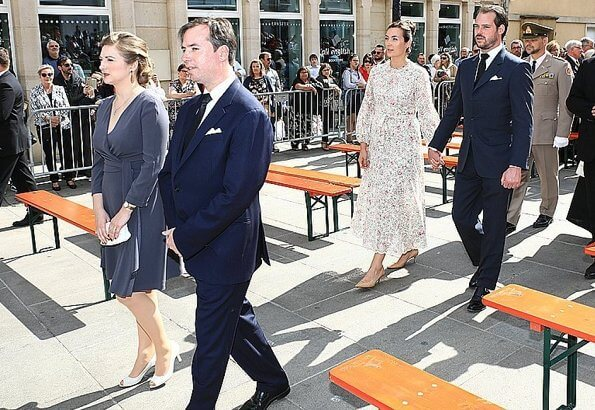 Princess Claire wore floralmidi Dress by Zimmermann. (Same dress worn Crown Princess Mary) Princess Stephanie. Maria Teresa