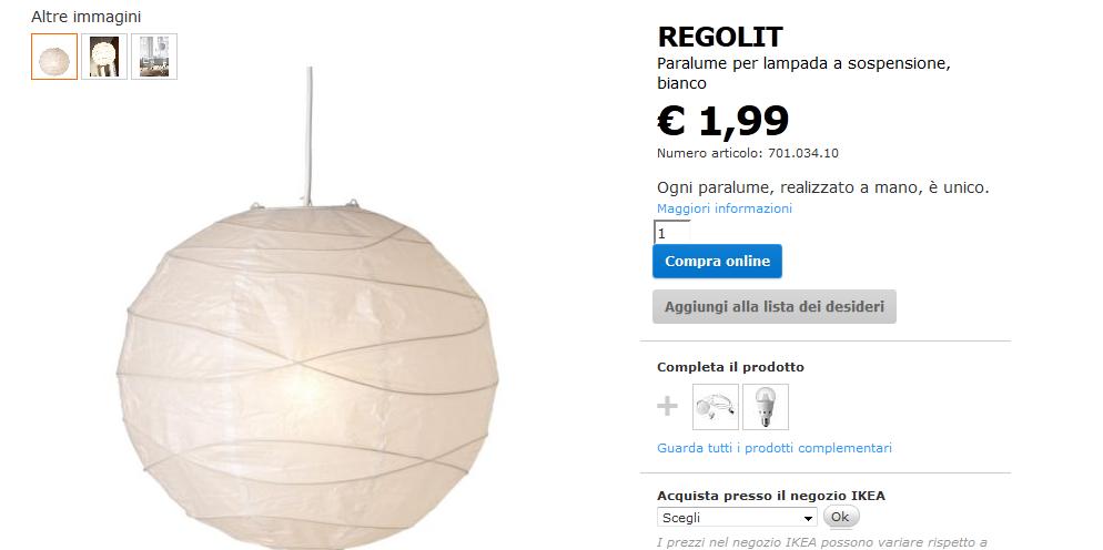 Opinioni Arredamento Ikea Regolit Paralume per Lampada :
