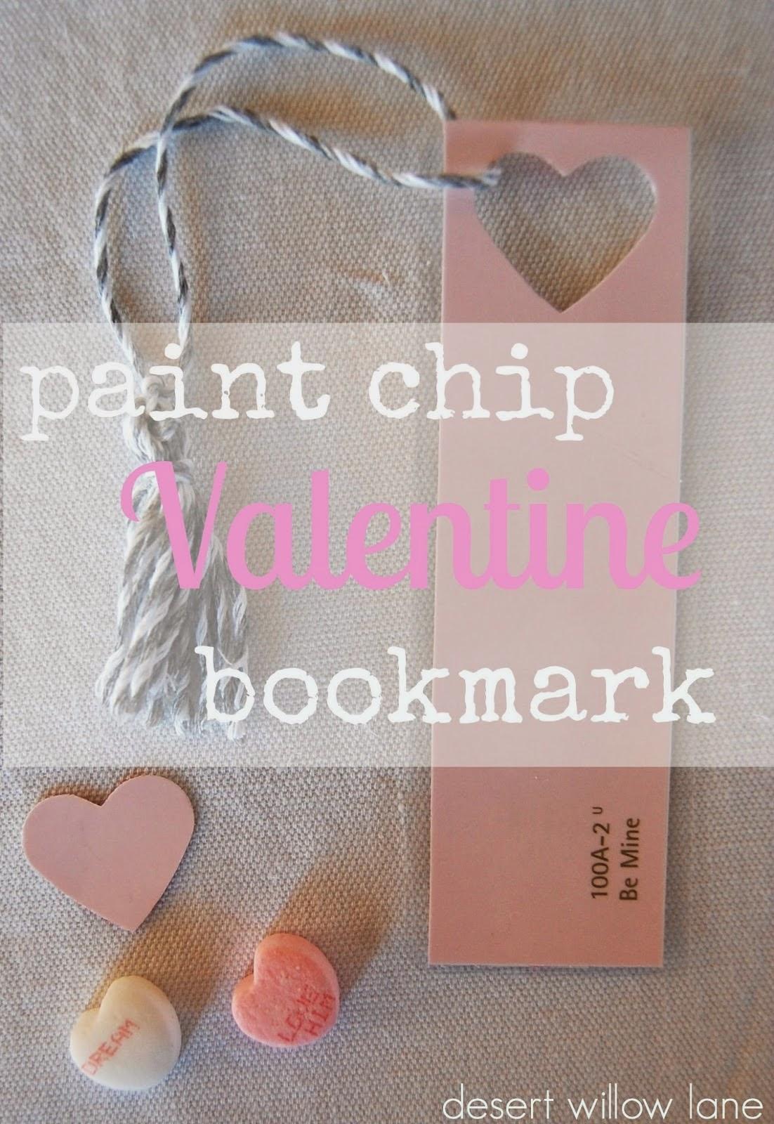 paint chip valentine bookmark