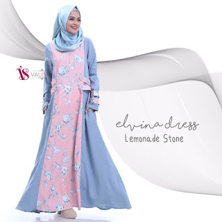 Gamis Valisha Elvina Dress Lemonade Stone