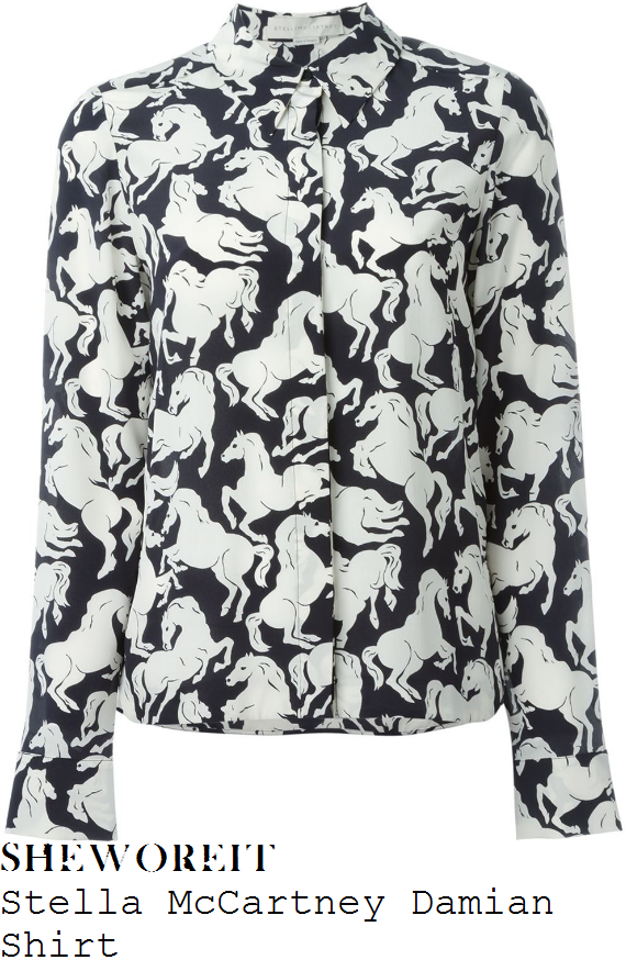claudia-winkleman-stella-mccartney-damian-black-and-white-monochrome-horse-print-long-sleeve-button-front-collared-silk-shirt