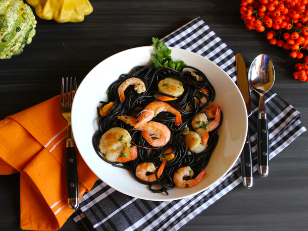 Squid INK Pasta With Shrimp and Scallop