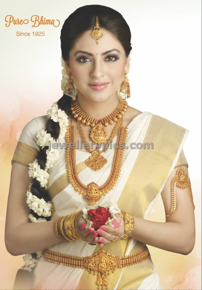 Model In Bhima Gold Jewellery Ad South Indian Jewellery Designs
