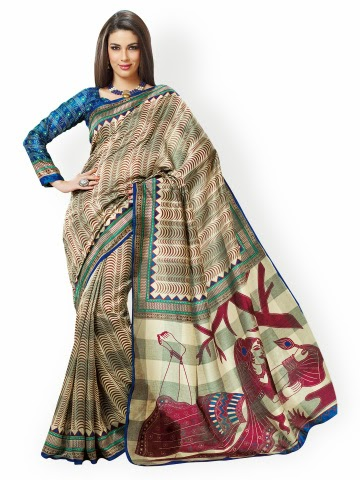 236888644 http   bit.ly 1AryMUF. The stylish cream color printed art silk saree ...