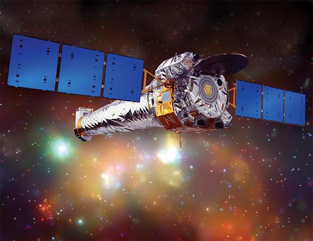 Ilustração artística do telescópio espacial Chandra - o observatório de raios-X mais sensível atualmente