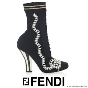 Queen Rania wore Fendi Rockoko Slip On Booties