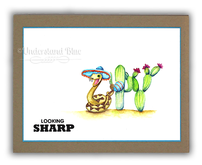Looking Sharp No Line Watercolor Card by Understand Blue