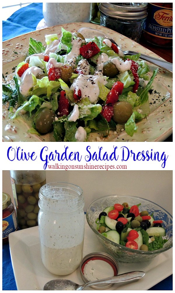 A delicious copycat homemade salad dressing that really does taste like Olive Garden from Walking on Sunshine Recipes.