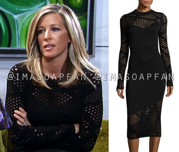 Carly Corinthos, Laura Wright, Black Fractured Pointelle Dress, General Hospital, GH