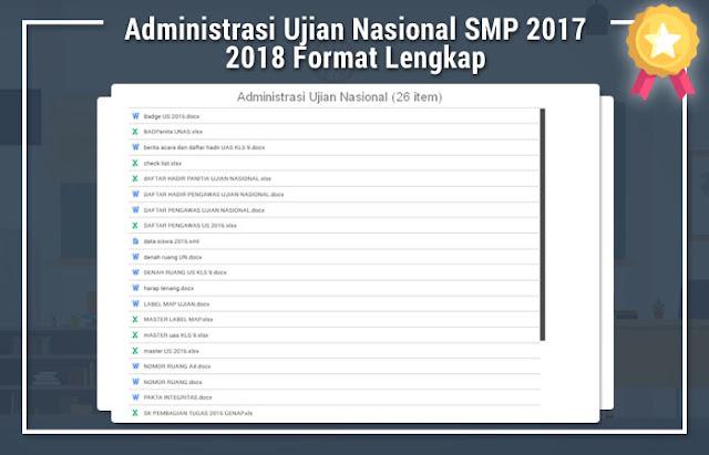 Administrasi Ujian Nasional SMP 2017 2018 Format Lengkap