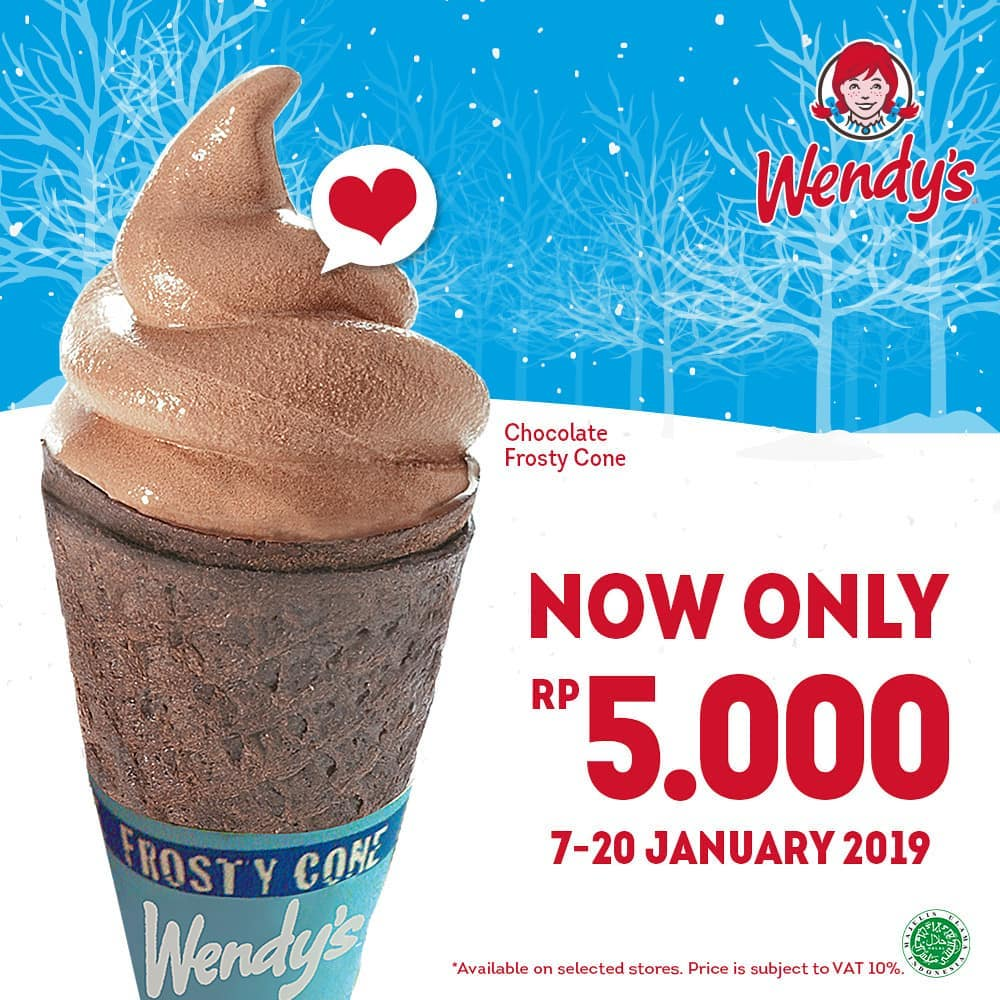 #Wendy's - Promo Chocolate Frosty Cone hanya 5 ribu (s.d 20 Jan 2019)