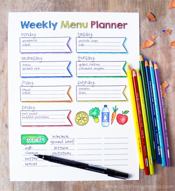 Free Printable Coloring Weekly Menu Planner at artsyfartsymama