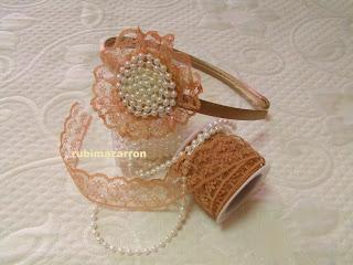 Rubi fotos de mis manualidades diademas con perlas y encaje - Diademas de encaje ...