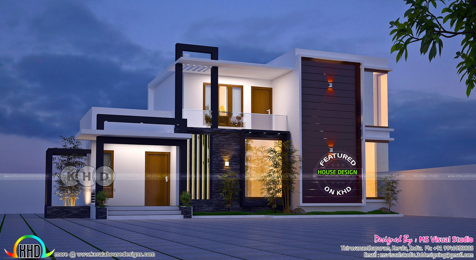 3 bedroom superb looking contemporary house plan kerala for Looking for 4 bedroom house