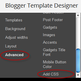 how to add css direct blogger designer