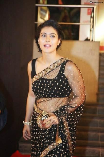 Bollywood Actress Kajol Hot Navel In Black Transparent Saree Photos  Salman Khan Hd Wallpaper-4471