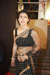 Bollywood Actress Kajol Hot Navel in Black Transparent Saree Photos