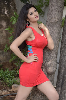Poojitha Exposing her Sexy Slutty Thighs in Sexy Red Hoit small Dress WOW Upskirts Hot Cleavages Young Teenage Poojitha