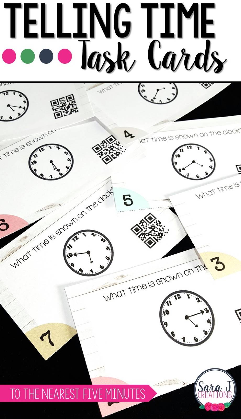 Telling time activities for first and second grade. Use these Task Cards to practice time to the hour and half hour and the nearest 5 minutes. QR Codes included!
