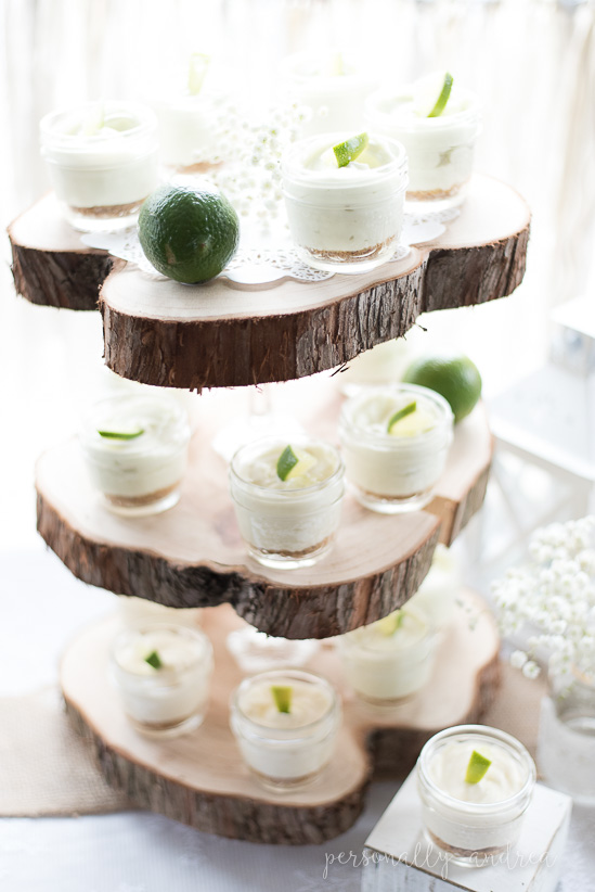 Rustic Three Tier Wood Slice Stand used for displaying desserts | personallyandrea.com