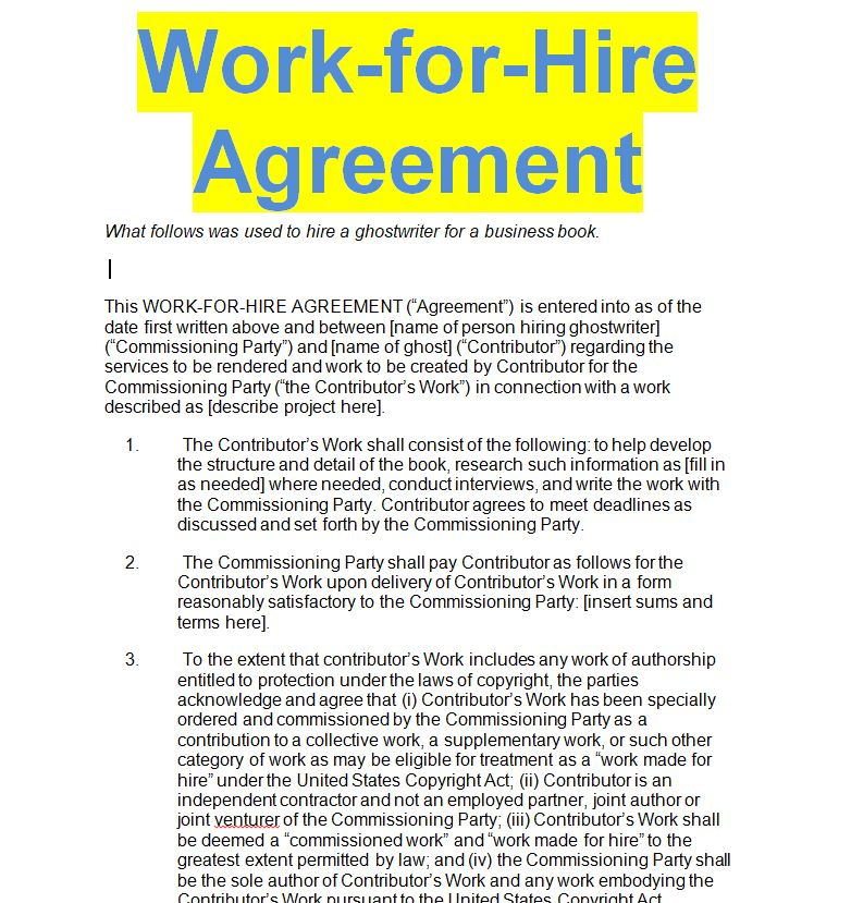 Work For Hire Agreement Template Sample Doc Sample Contracts