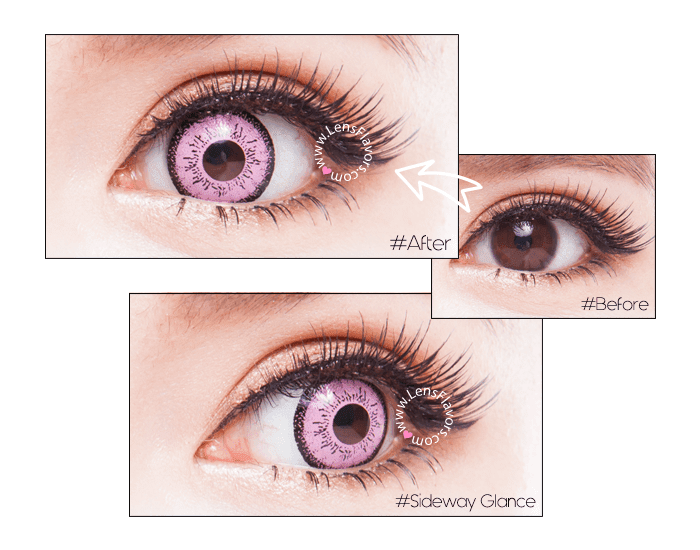 eos dolly eye pink  before after