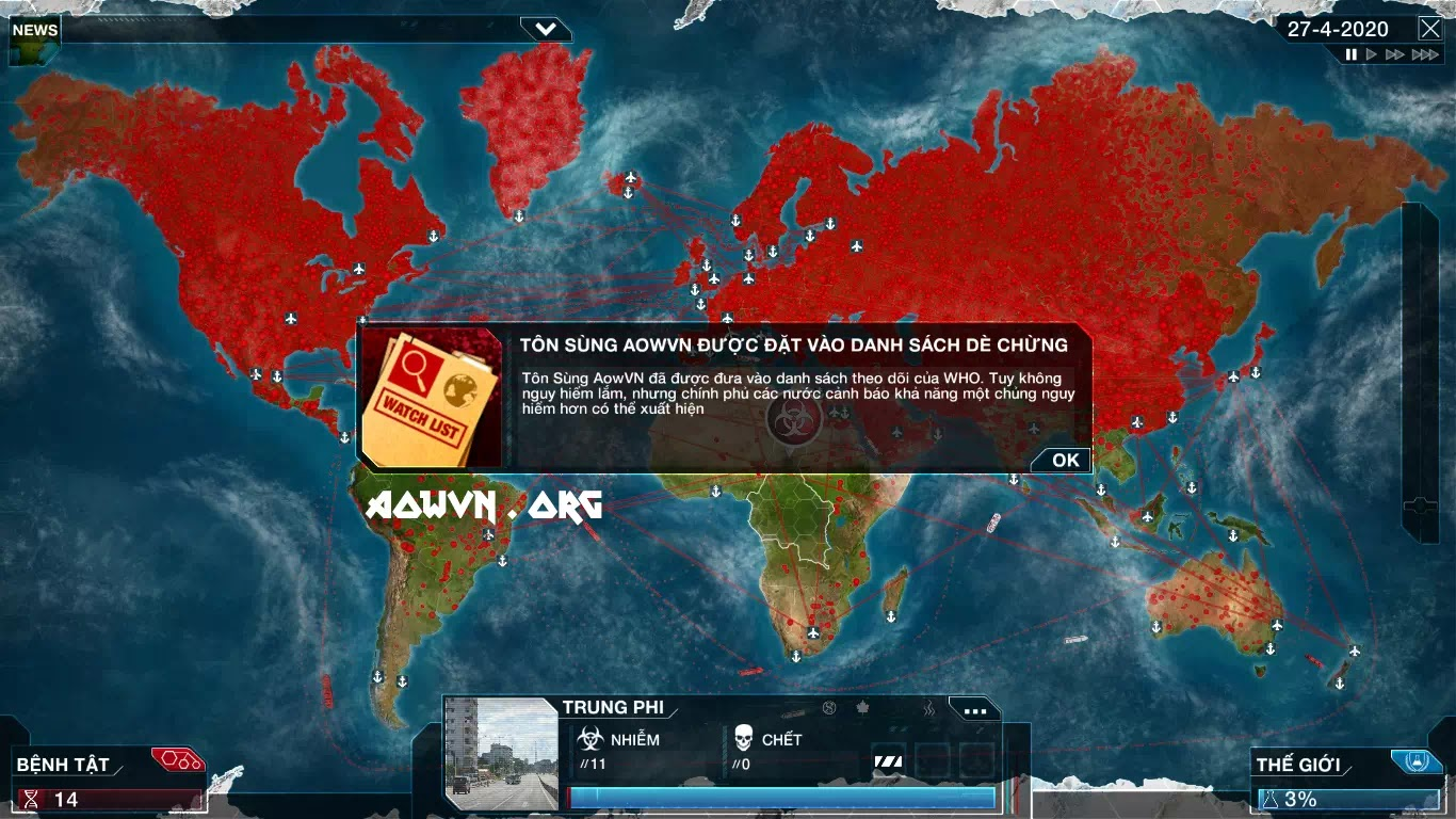 game Plague viet hoa cho android va pc aowvn%2B%25284%2529 - [ HOT ] Game Plague Inc Evolved Việt Hóa | Android PC OFFLINE - Nhập Vai Làm Kẻ Ác ?