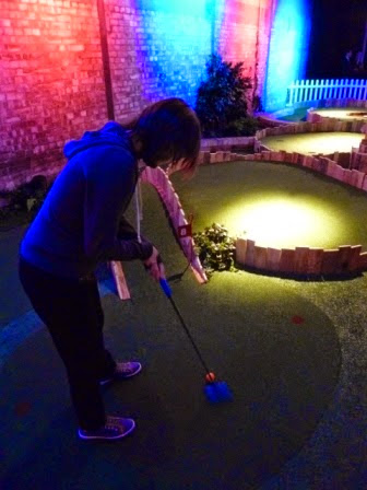 Emily Gottfried playing minigolf at Swingers Crazy Golf in Shoreditch, London on the launch night in September