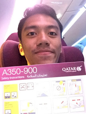 Safety Card A350 Qatar Airways Selfie