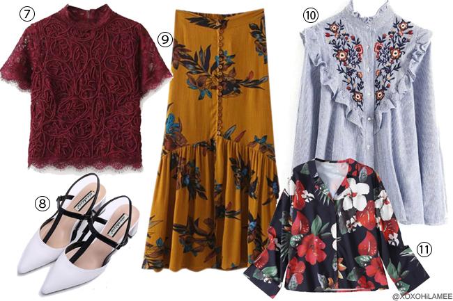 日本人ファッションブロガー,Mizuho K,ほしい物リスト 春夏2017 ZAFUL-バーガンディーレースブラウス、黄色花柄スカート、大花柄ネイビーブラウス、花柄刺繍ブラウス、白ストラップパンプス