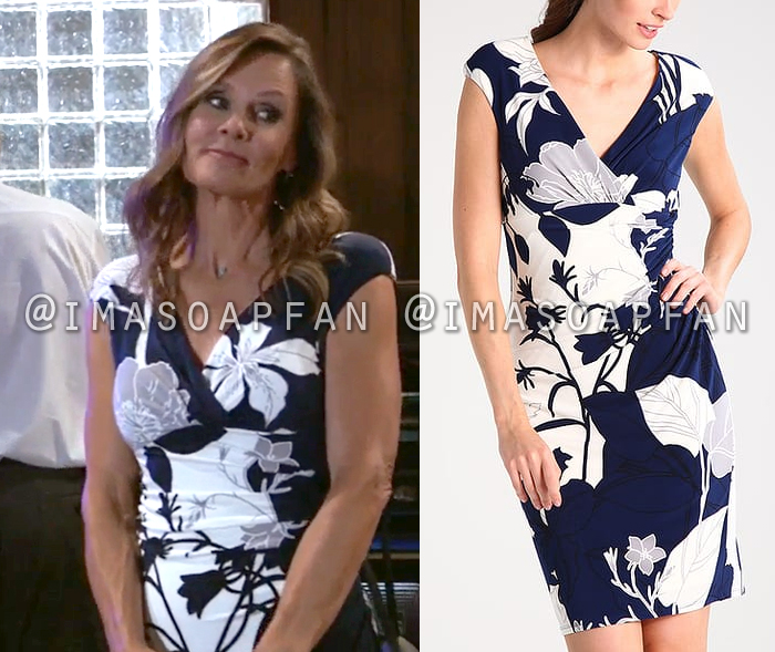 Lucy Coe, Lynn Herring, Blue White and Grey Floral Dress, General Hospital, GH