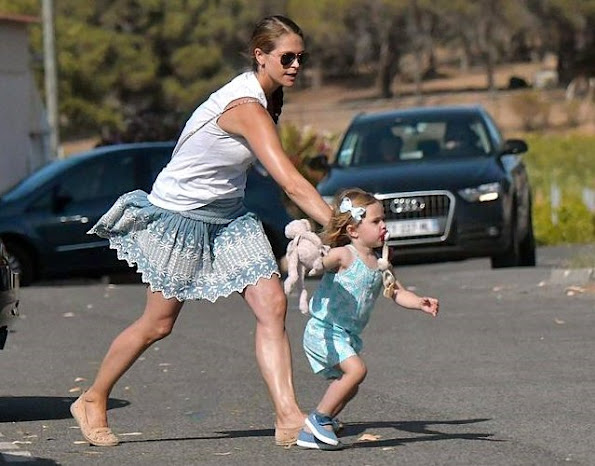 Princess Madeleine, Princess Leonore and Prince Nicolas of Sweden on holiday in Saint Tropez, France. Princess Madeleine wears new summer dress, skirt, tops