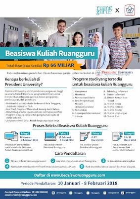 Beasiswa Kuliah Ruangguru di President University senilai Rp 66 Milyar