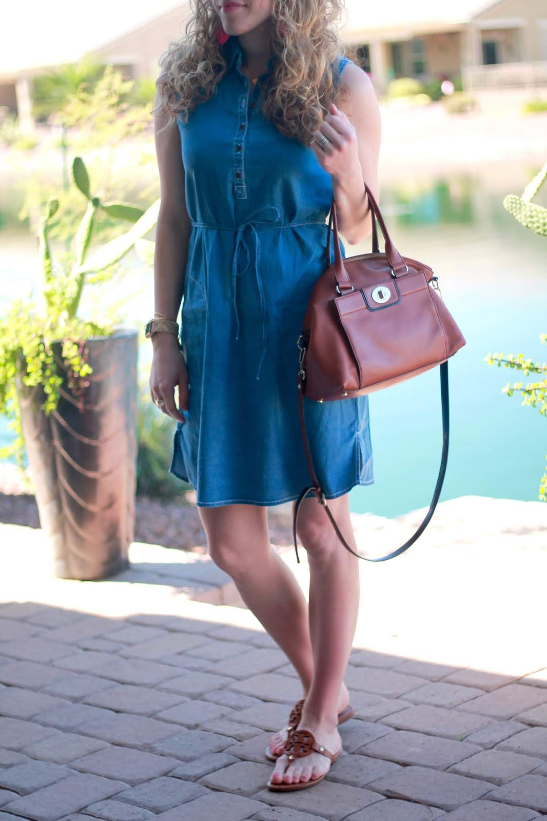 aventura tristan chambray dress, tory burch miller sandals, cognac crossbody, pink leather earrings