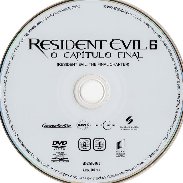Label DVD Resident Evil 6: O Capítulo Final