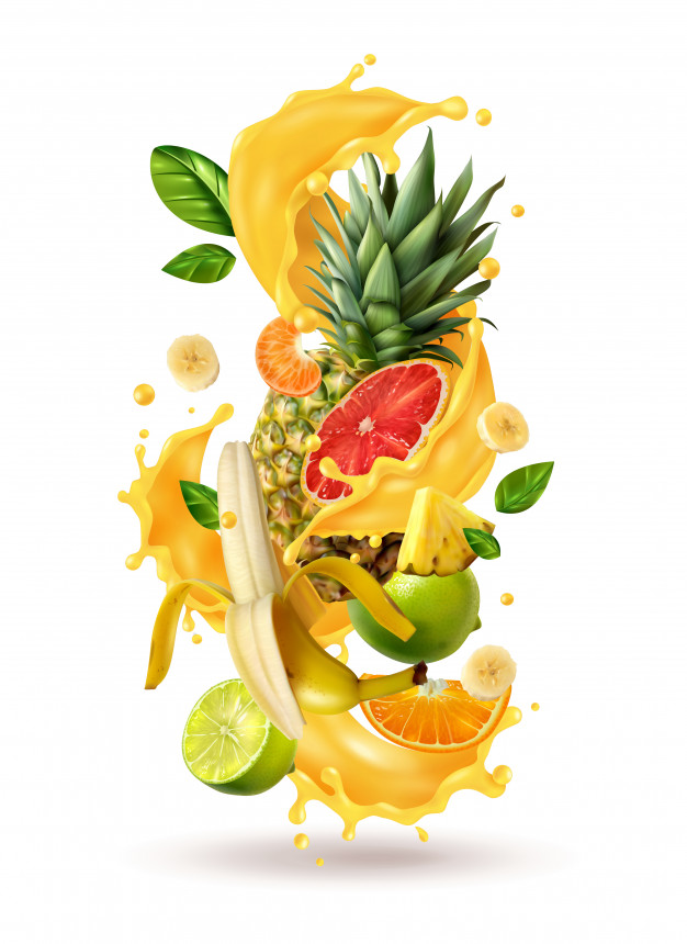 Realistic ftuiys juice splash burst composition with spray images and ripe tropical fruits on blank Free Vector