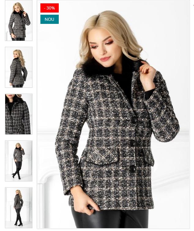 Jacheta de iarna eleganta neagra in carouri si paiete Blanita detasabila