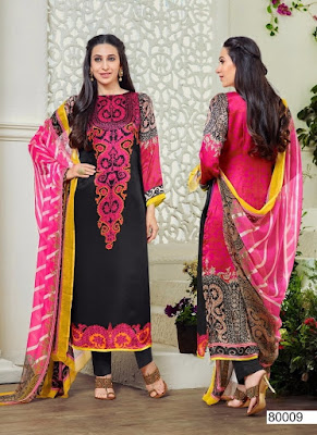 Pakistani Print Unstitched Black and Pink Dress Material