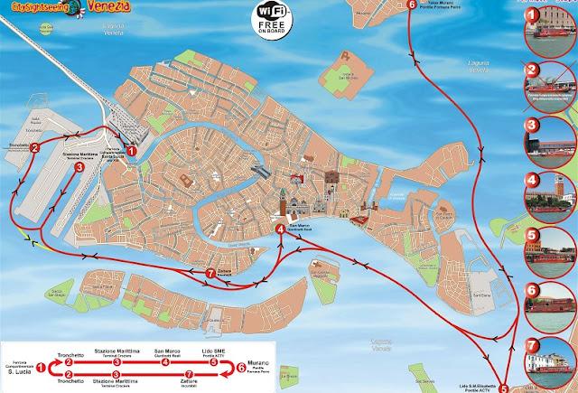 Mapa que mostra o percurso do barco turístico em Veneza