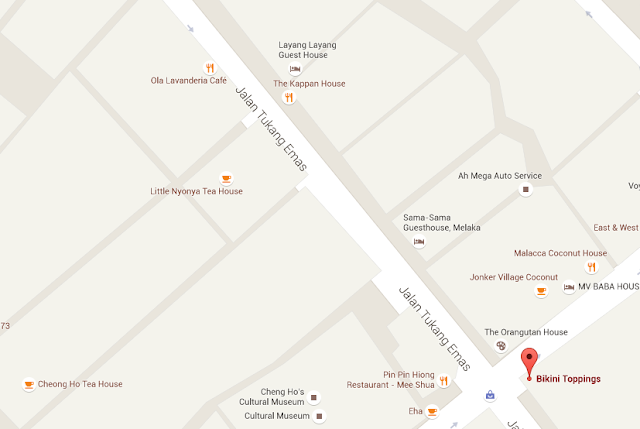 Malacca - Bikini Toppings Cafe Map