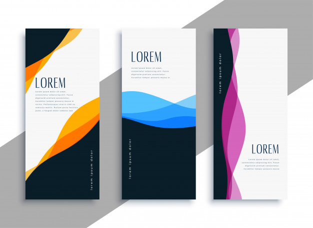 Stylish wavy vertical banners template Free Vector