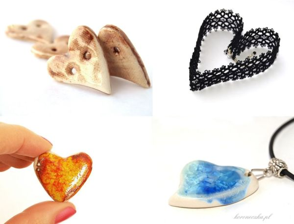 Walentynki - serduszka z frywoitki i ceramiki