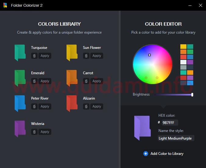 Folder Colorizer editor dei colori