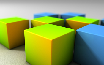 image of green and blue cubes
